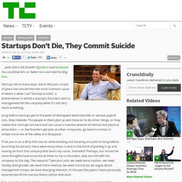 Startups Don't Die, They Commit Suicide