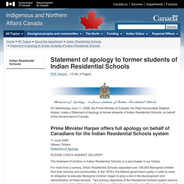 Statement of apology to former students of Indian Residential Schools