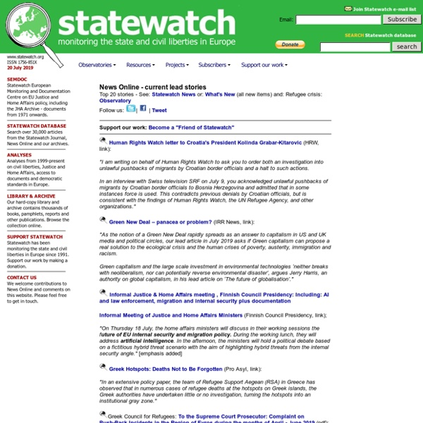 STATEWATCH - monitoring the state and civil liberties in Europe