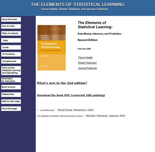Elements of Statistical Learning: data mining, inference, and prediction. 2nd Edition.