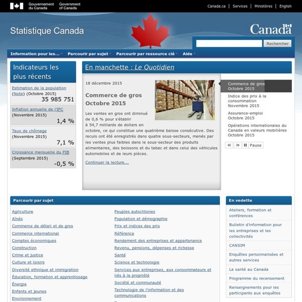Canada Statistique : Organisme statistique national du Canada