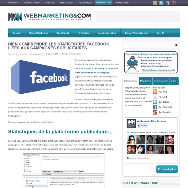 Bien comprendre les statistiques Facebook liées aux campagnes publicitaires