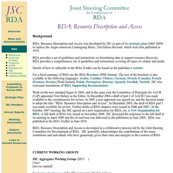 Joint Steering Committee for Development of RDA [Inglés]