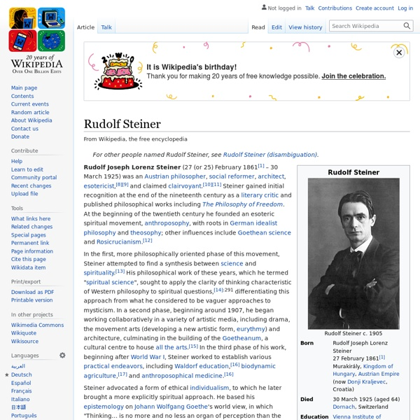 Rudolf Steiner - Golden Dawn member, appointed as head of Theosophy Germany & Austria by Besant