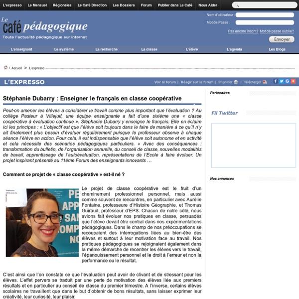 Stéphanie Dubarry : Enseigner le français en classe coopérative