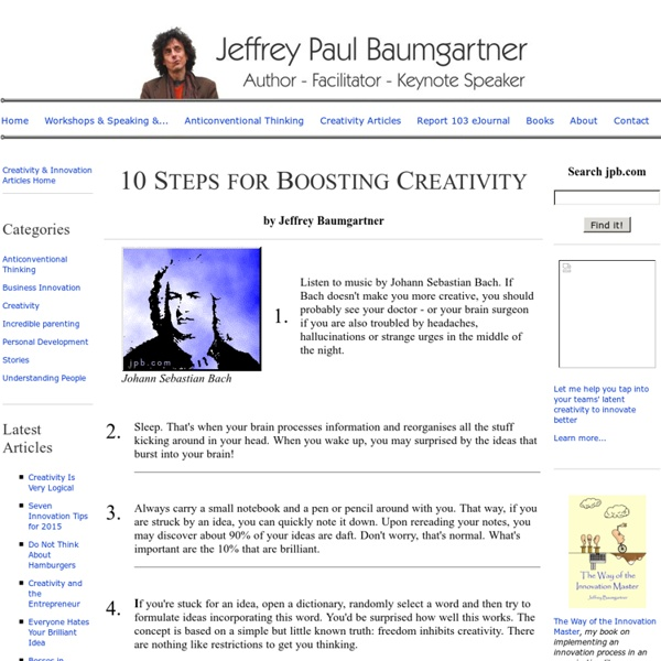 Ten Steps for Boosting Your Creativity