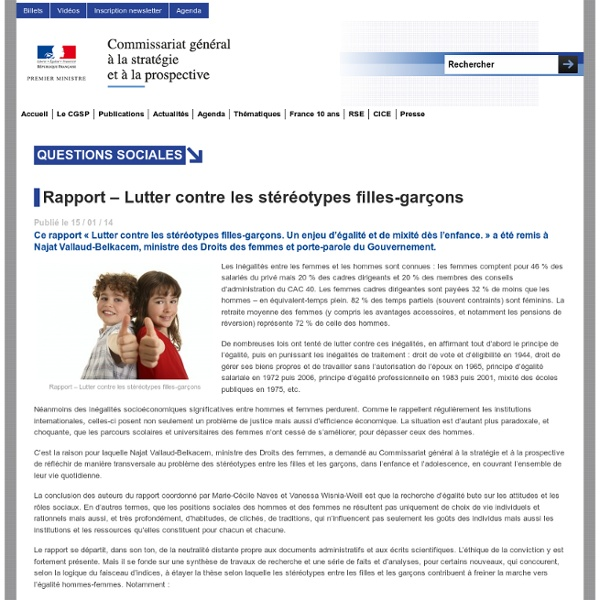 Rapport – Lutter contre les stéréotypes filles-garçons