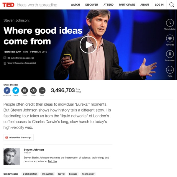 Steven Johnson: Where good ideas come from