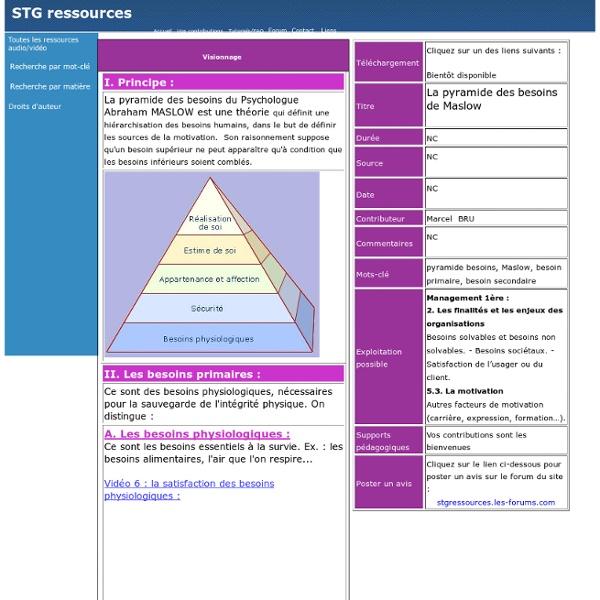 Pyramide de Maslow exemples