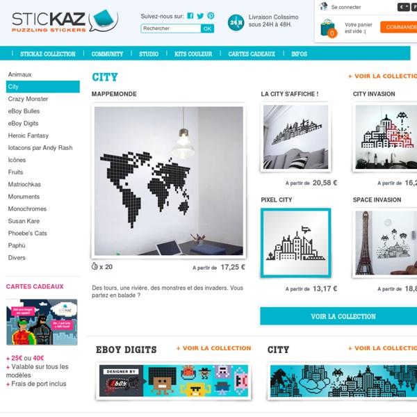 Stickers Puzzle Pixel Art - Stickers Muraux, Fabriqué en France