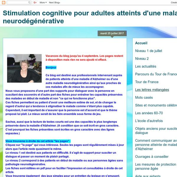Stimulation cognitive pour adultes atteints d'une maladie neurodégénérative