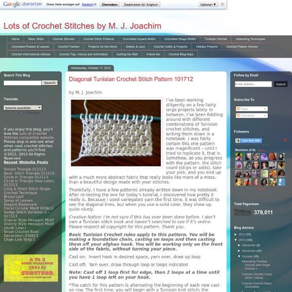 Diagonal Tunisian Crochet Stitch Pattern 101712