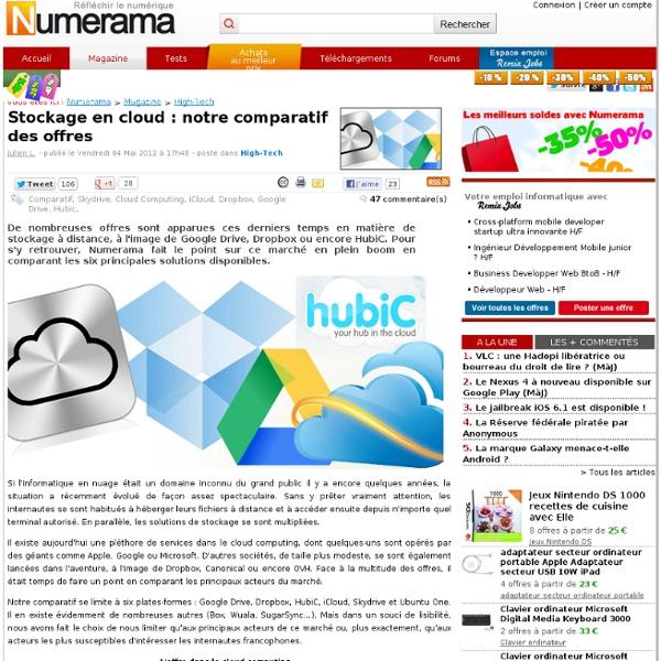 Stockage en cloud : notre comparatif des offres