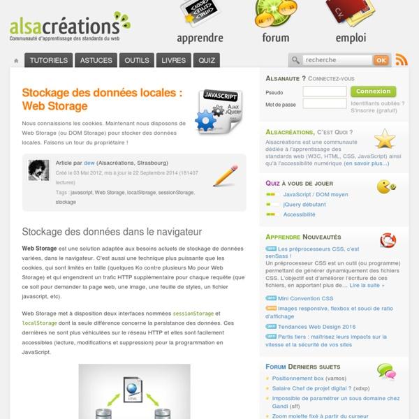 Stockage des données locales : Web Storage