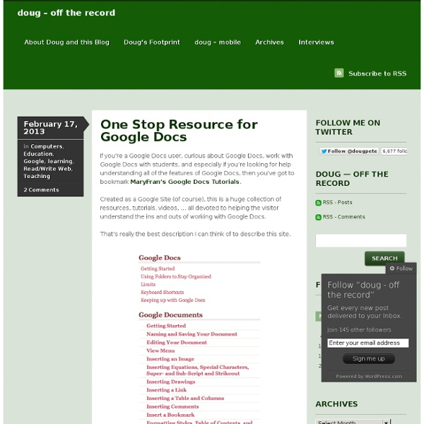One Stop Resource for Google Docs