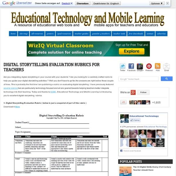 Digital Storytelling Evaluation Rubrics for Teachers