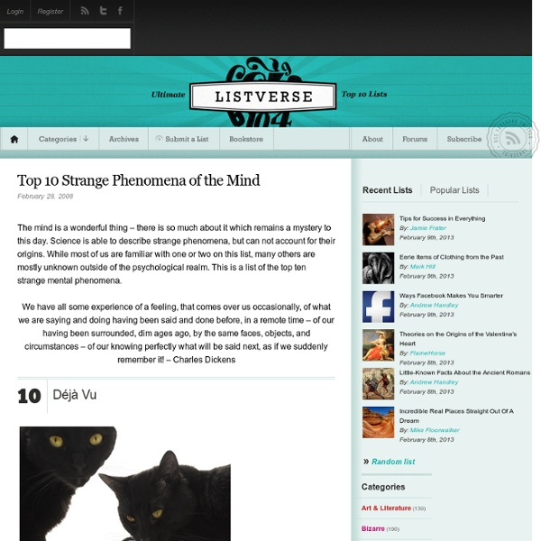 Top 10 Strange Phenomena of the Mind