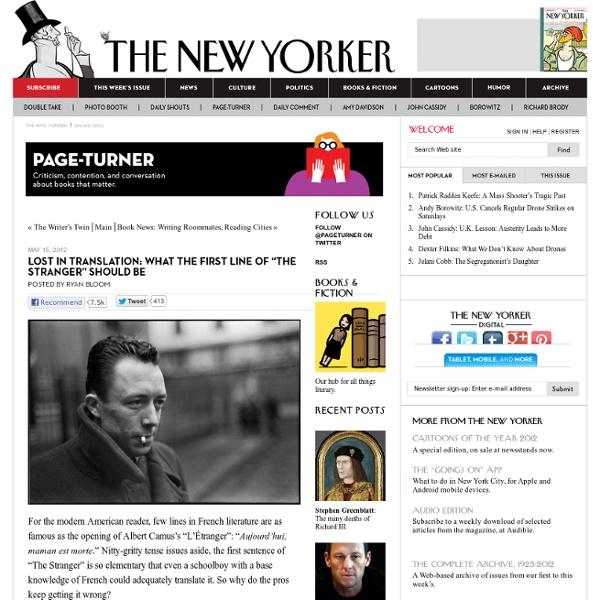 "Camus's ""The Stranger"": First-Line Translation"