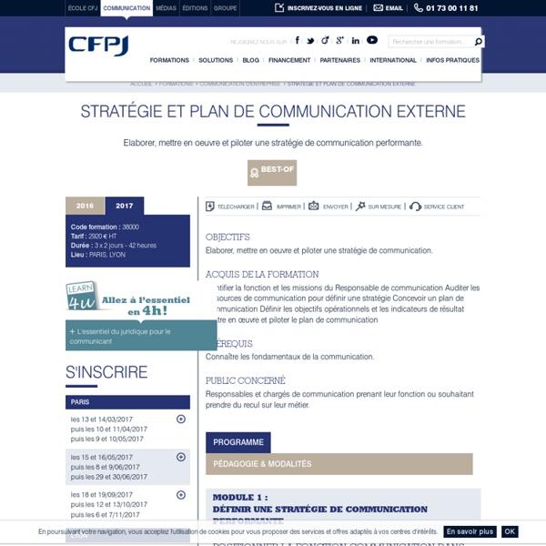 Stratégie et plan de communication externe