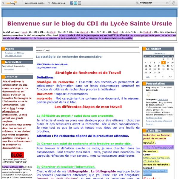La stratégie de recherche documentaire - Blog du CDI du Lycée Sainte Ursule