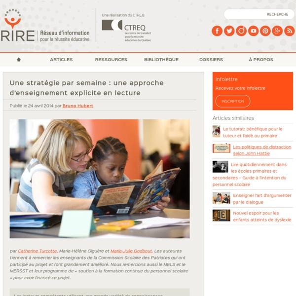 Une stratégie par semaine : une approche d'enseignement explicite en lecture