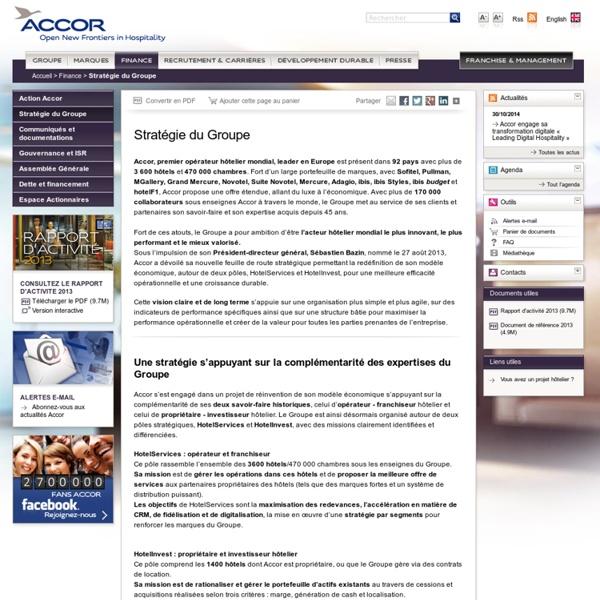 Stratégie du Groupe- Accor