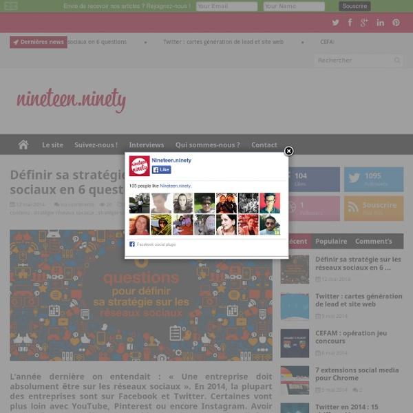Définir sa stratégie sur les réseaux sociaux en 6 questions1990