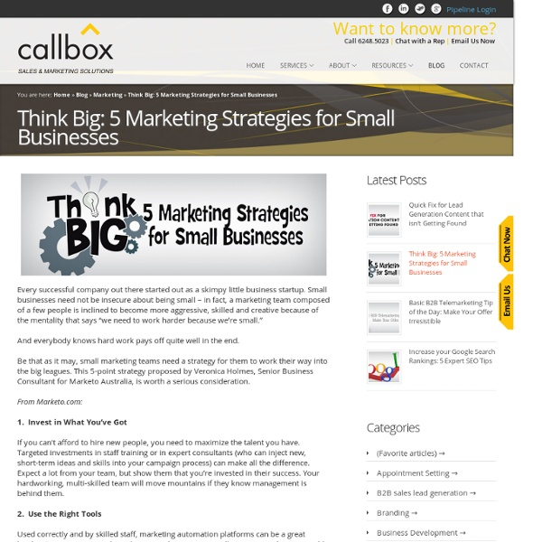 Think Big: 5 Marketing Strategies for Small Businesses