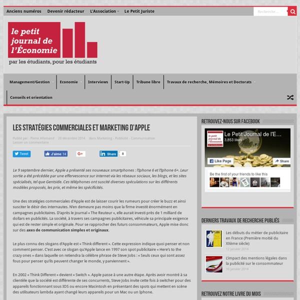 Les stratégies commerciales et marketing d'Apple - Le Petit Journal de l'Economie