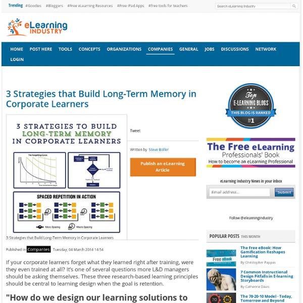 3 Strategies that Build Long-Term Memory in Corporate Learners
