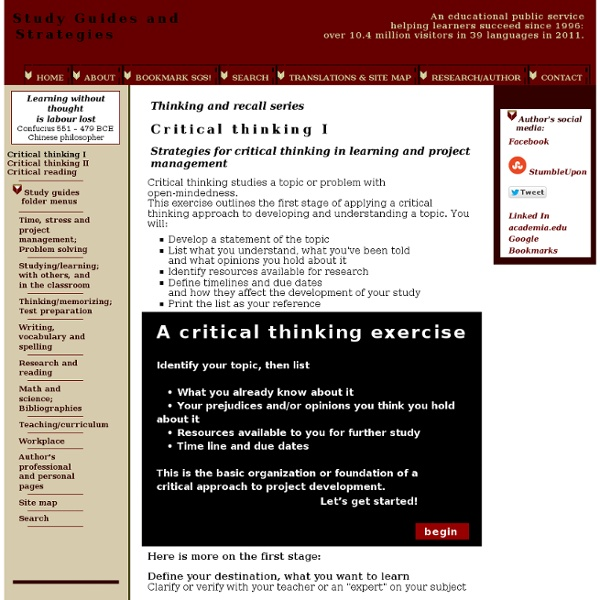 critical thinking and learning strategies In this section, we offer an interactive model which details the analysis and assessment of reasoning, and enables you to apply the model to real life problems on.