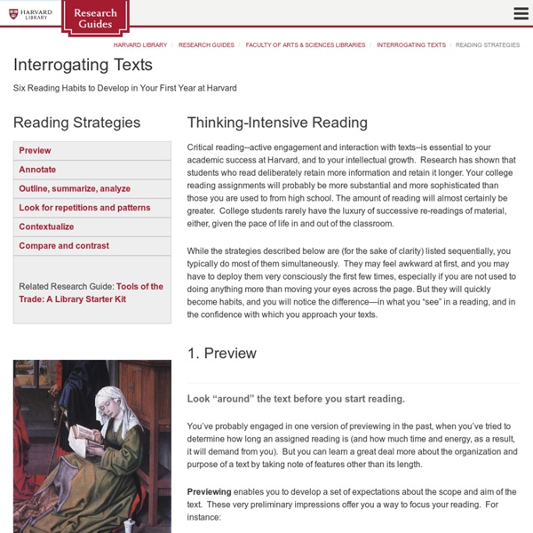 Reading Strategies - Interrogating Texts