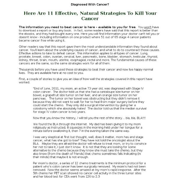 Strategies to Kill Cancer