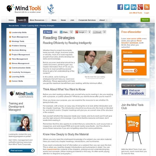 Reading Strategies - Learning Skills from MindTools