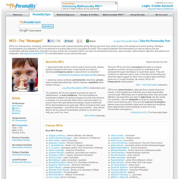 INTJ (Strategist) Personality Type - Jungian