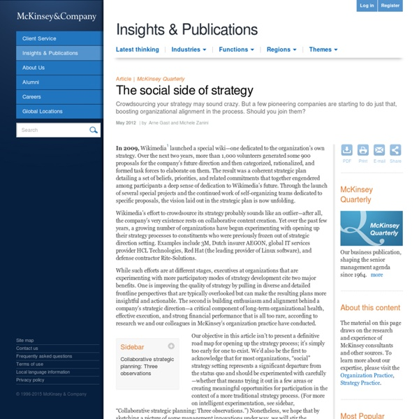 The social side of strategy - McKinsey Quarterly - Strategy - Strategy in Practice