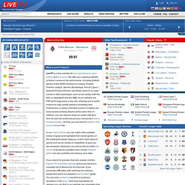 Прямые спортивные видео трансляции, футбол, хоккей, теннис, баскетбол / LiveTV