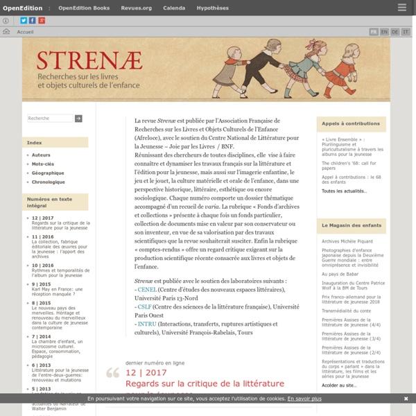 Strenæ - Recherches sur les livres et objets culturels de l'enfance