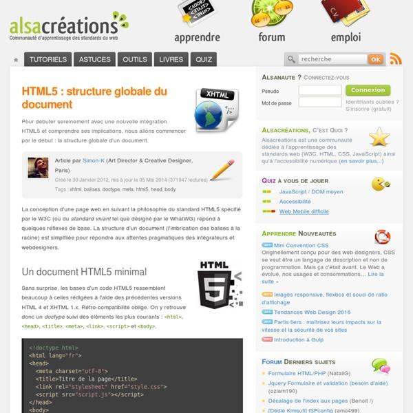 HTML5 : structure globale du document