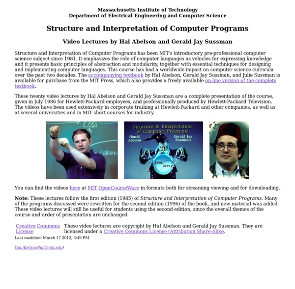 Structure and Interpretation of Computer Programs, Video Lectures