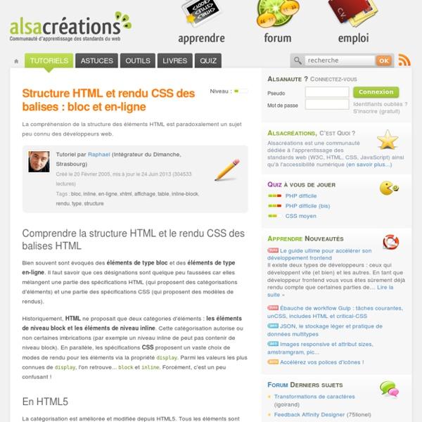 Structure HTML et rendu CSS des balises : bloc et en-ligne