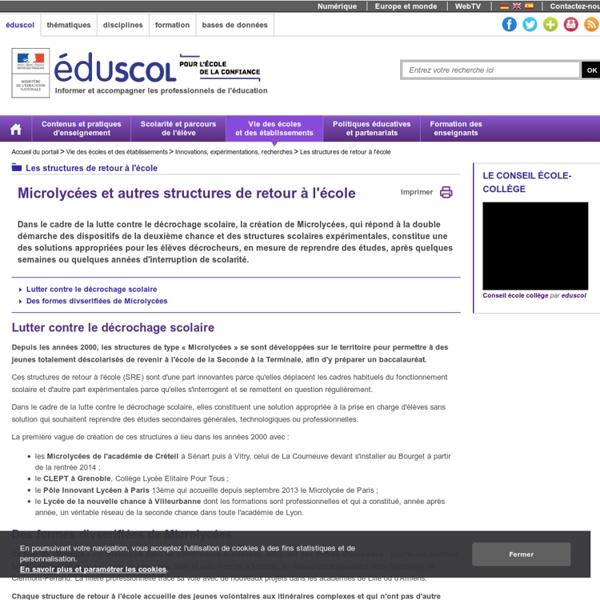 Les structures de retour à l'école - Microlycées