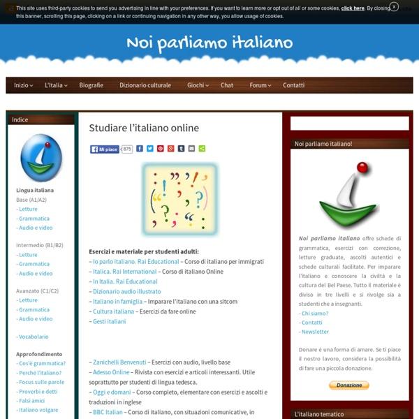 Studiare l'italiano online - Noi parliamo italiano