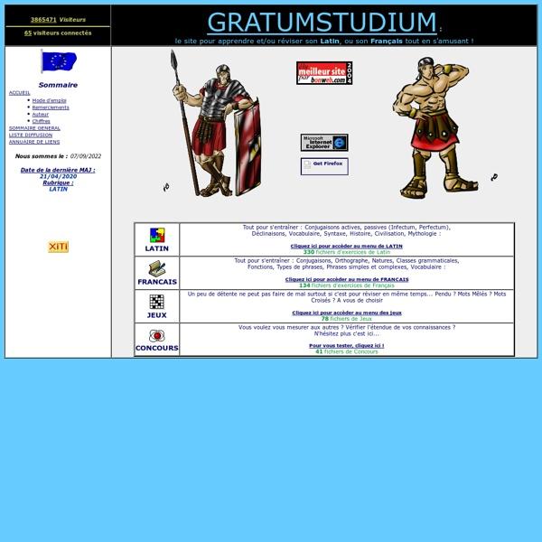 GRATUM STUDIUM ... le site pour apprendre ou réviser son latin ou son français !!!