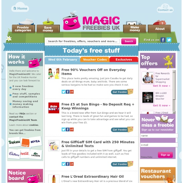 Magic Freebies UK - UK Freebies, Free Samples and Free Stuff