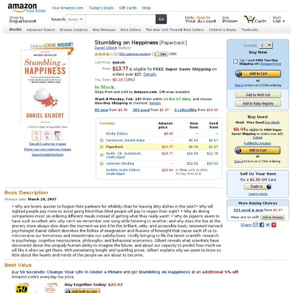 Stumbling on Happiness: Daniel Gilbert: 9781400077427: Amazon.com: Books