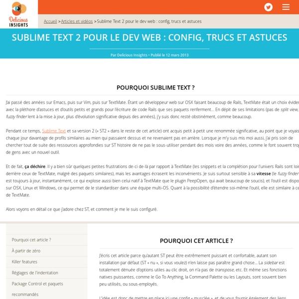 Sublime Text 2 pour le dev web: config, trucs et astuces