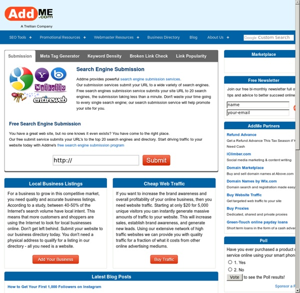 Search Engine Submission Optimization Free Website URL Promotion & SEO Tools