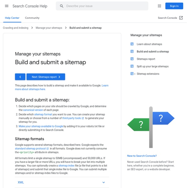 Build and submit a sitemap - Search Console Help