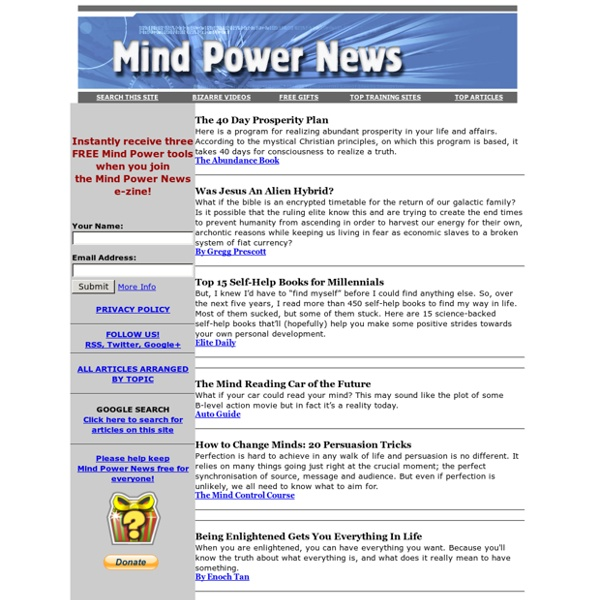 MIND POWER NEWS: How to Create Health Wealth Success Happiness Freedom